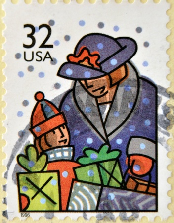 UNITED STATES OF AMERICA - CIRCA 1996: A stamp printed in USA dedicated to Christmas shows holiday shopping, circa 1996 Stock Photo - 15137786