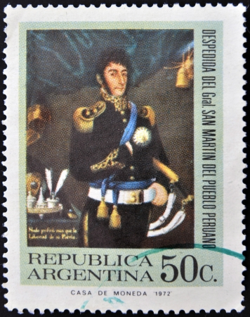postes: ARGENTINA - CIRCA 1972: A stamp printed in Argentina shows General Jose de San Martin, circa 1972