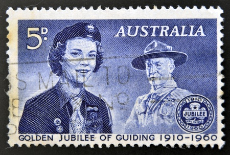 guiding: AUSTRALIA - CIRCA 1960 : stamp printed in Australia devoted to golden jubilee of guiding, circa 1960  Editorial