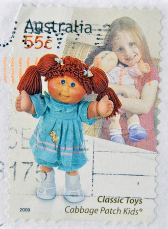 cabbage patch: AUSTRALIA - CIRCA 2009: A stamp printed in australia dedicated to classic toys, shows cabbage patch kids, circa 2009 Editorial