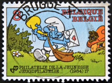 BELGIUM - CIRCA 1984: A stamp printed in Belgium dedicated to the Smurfs, circa 1984 Editorial