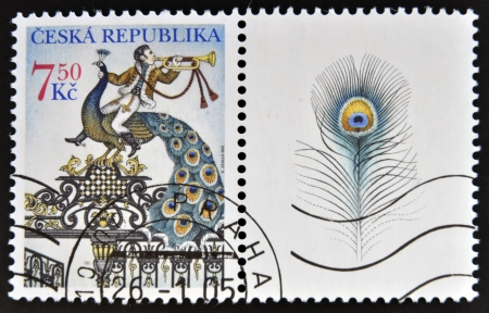 CZECH REPUBLIC - CIRCA 2005: a stamp printed in Czech Republic shows The Gate with a Peacock, circa 2005 Stock Photo - 15161986
