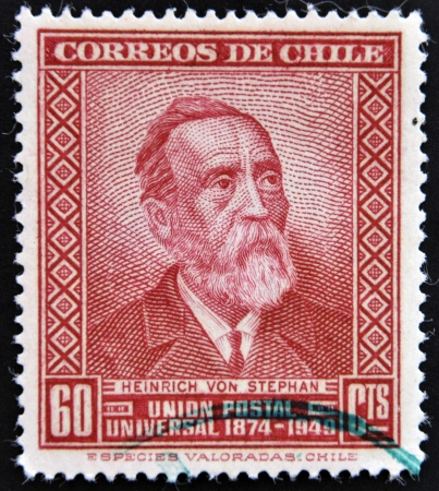 postmaster: CHILE - CIRCA 1950: A stamp printed in Chile shows Heinrich Von Stephan, circa 1950