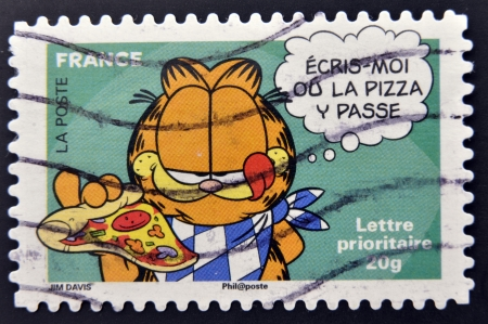 FRANCE - CIRCA 2008: A stamp printed in France shows Garfield, circa 2008  Stock Photo - 15156210