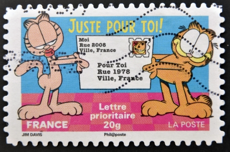 FRANCE - CIRCA 2008: A stamp printed in France shows Garfield, circa 2008