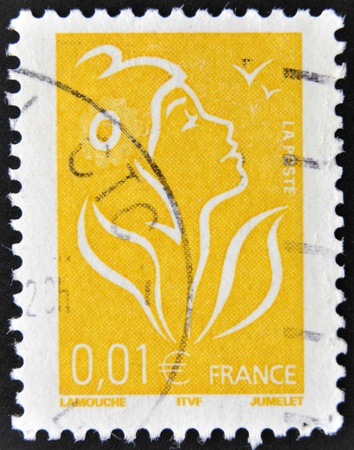 FRANCE - CIRCA 2005: A stamp printed in France shows Marianne, circa 2005  photo