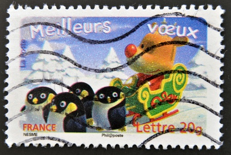 FRANCE - CIRCA 2007: stamp printed in France shows deer with penguins, circa 2007