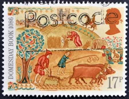 nationwide: UNITED KINGDOM - CIRCA 1986: A stamp printed in the Great Britain dedicated to 900th Anniversary of Domesday Book, first nationwide survey in British history, circa 1986