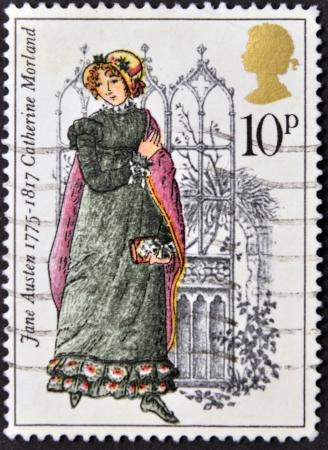 イギリス - 1975 年ごろ: ジェーン ・ オースティン、1975 年ごろイギリスでキャサリン ・ モーランド印刷スタンプです。