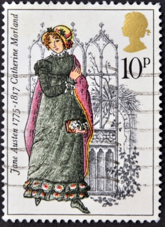 UNITED KINGDOM - CIRCA 1975: A stamp printed in United Kingdom shows Catherine Morland by Jane Austen, circa 1975.