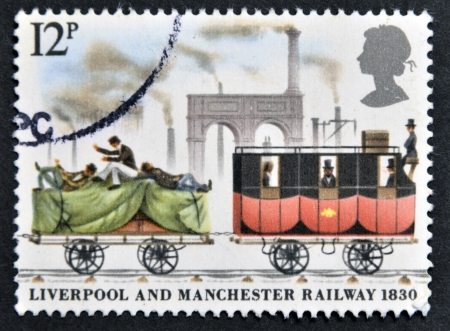 UNITED KINGDOM - CIRCA 1980: A stamp printed in Great Britain dedicated to the 150th anniversary of the railway line Liverpool-Manchester, circa 1980  Stock Photo - 15161595