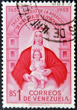 landlady: VENEZUELA - CIRCA 1952: A stamp printed in Venezuela shows Our Lady of Coromoto, circa 1952 Editorial