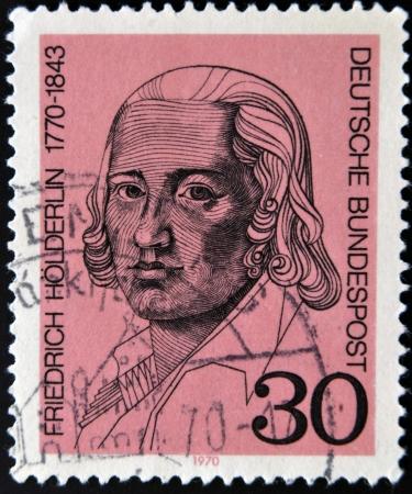 friedrich: GERMANY - CIRCA 1970: a stamp printed in Germany shows Friedrich Holderlin, lyric poet, circa 1970  Editorial
