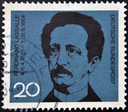 founder: GERMANY - CIRCA 1964: A stamp printed in Germany shows Ferdinand Lasalle, founder of the German Labor Movement, circa 1964