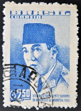sukarno: BRAZIL - CIRCA 1959: A stamp printed in Brazil dedicated to the visit of Indonesian President Sukarno, circa 1959.