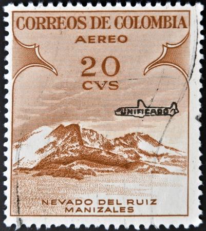ruiz: COLOMBIA - CIRCA 1954: A stamp printed in Colombia shows Nevado Del Ruiz Manizales, circa 1954  Editorial