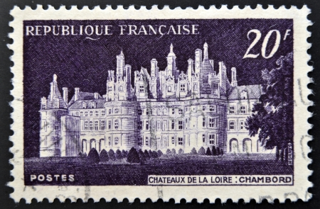 FRANCE - CIRCA 1952  stamp printed in France shows Chateau de Chambord, circa 1952  Stock Photo - 15294046