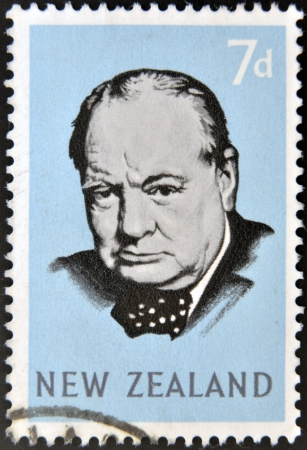NEW ZEALAND - CIRCA 1965: stamp printed in New Zealand shows Sir Winston Churchill, circa 1965  Stock Photo - 15294074