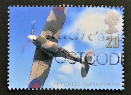 firepower: UNITED KINGDOM - CIRCA 1997: A stamp printed in Great Britain shows the WW2 Supermarine Spitfire, circa 1997