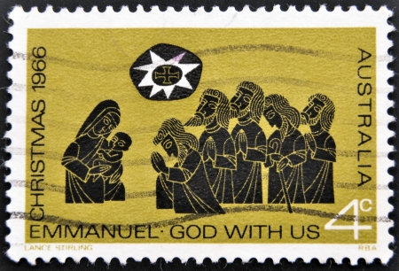 AUSTRALIA - CIRCA 1966: A stamp printed in Australia shows Christmas, Emmanuel, God with us, circa 1966