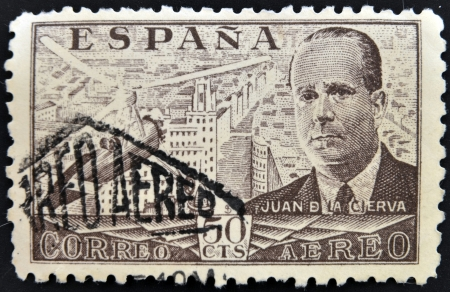 SPAIN - CIRCA 1939: stamp printed in Spain shows Juan de la Cierva and Autogiro, circa 1939