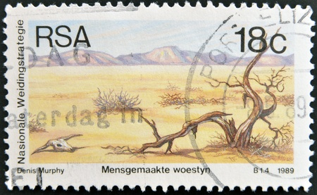 rsa: REPUBLIC OF SOUTH AFRICA - CIRCA 1989  A stamp printed in South Africa shows Death of animals and plants, environmental protection, circa 1989  Editorial