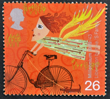 cancelled stamp: UNITED KINGDOM - CIRCA 1999  A stamp printed in Great Britain shows Liberation by bike, circa 1999