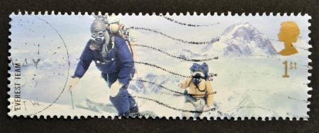 everest: UNITED KINGDOM - CIRCA 2003  A stamp printed in Great Britain shows Members of 1953 Everest Team  Edmund Hillary , circa 2003