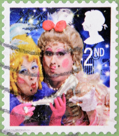 UNITED KINGDOM - CIRCA 2008  A christmas stamp printed in Great Britain shows The Ugly Sisters from Cinderella, circa 2008  Stock Photo - 15370476