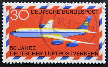 bundespost: GERMANY - CIRCA 1969: A stamp printed in the Federal Republic of Germany shows 50 years German airmail traffic, circa 1969