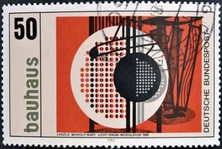 modulator: GERMANY - CIRCA 1983: A stamp printed in Germany dedicated to Bauhaus shows licht & raum modulator by laszlo moholy nagy, circa 1983