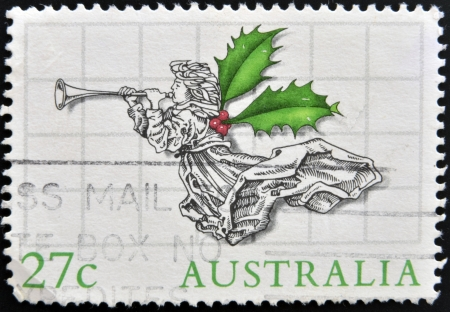 australia stamp: AUSTRALIA - CIRCA 1970: A stamp printed in Australia shows Christmas Angel, circa 1970