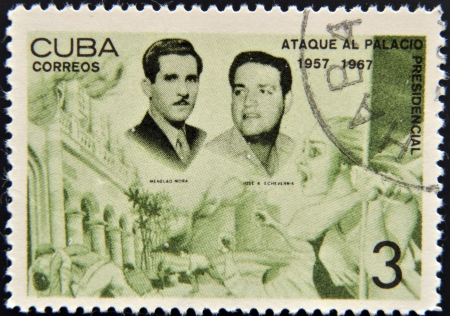 CUBA - CIRCA 1967: A stamp printed in cuba dedicated to presidential palace attack, shows Menelao Mora and Jose Echeverria, circa 1967 Stock Photo - 15460818
