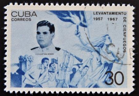 CUBA - CIRCA 1967: A stamp printed in cuba dedicated to Cienfuegos uprising, shows Dionisio San Roman, circa 1967 Stock Photo - 15460813
