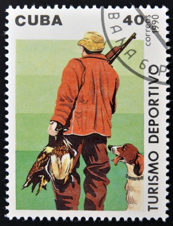 CUBA - CIRCA 1990: A stamp printed in Cuba dedicated to sports tourism, shows hunting, circa 1990 photo