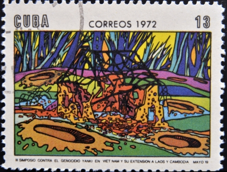 ravage: CUBA - CIRCA 1972: A Stamp printed in Cuba devoted to Symposium Against Yankee Genocide in Vietnam and its extension to Laos and Cambodia, circa 1972  Stock Photo