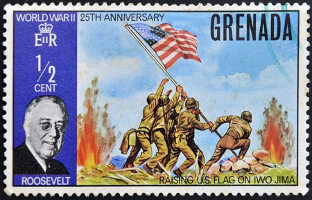 GRENADA - CIRCA 1970: Stamp printed in Grenada shows a portrait of U.S.A  President Roosevelt, World War II 25th anniversary, circa 1970