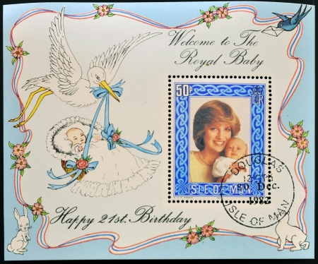 ISLE OF MAN - CIRCA 1982: A stamp printed in Isle of Man shows  a portrait of Diana of Wales with his son William, on his 21st birthday, circa 1982 Stock Photo - 15460771