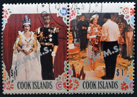 COOK ISLANDS - CIRCA 1977: Collection stamps printed in cook island shows two portraits of Queen Elizabeth II for his Silver Jubilee, circa 1977 Stock Photo - 15460775