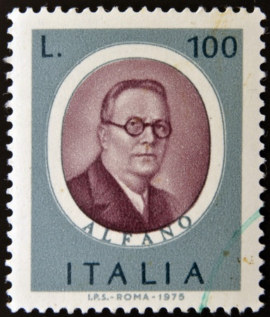 ITALY - CIRCA 1975: stamp printed in Italy, dedicated to Famous musicians shows Franco Alfano, circa 1975 Stock Photo - 15460781