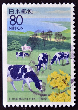 JAPAN - CIRCA 1997: A stamp printed in Japan shows a Japans coastal landscape with grazing cows, circa 1997 photo