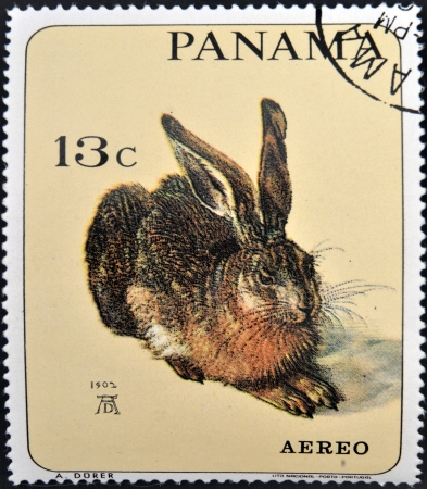 albrecht: PANAMA - CIRCA 1965: A stamp printed in Panama shows the young hare by Albrecht Dürer, circa 1965