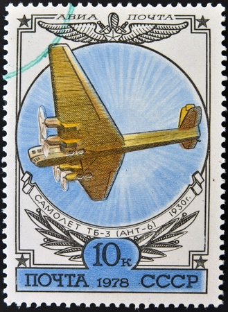 USSR - CIRCA 1978: A stamp printed in Russia shows the Airplane TB-3 (ANT-6), CIRCA 1978. photo