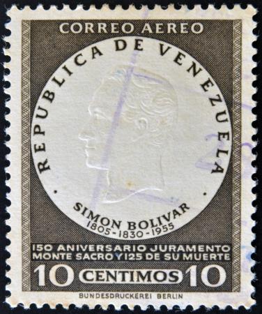 VENEZUELA - CIRCA 1955: A stamp printed in Venezuela shows image of Simon Bolivar, circa 1955