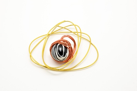 thread count: unique ring with handmade metal and thread count Stock Photo