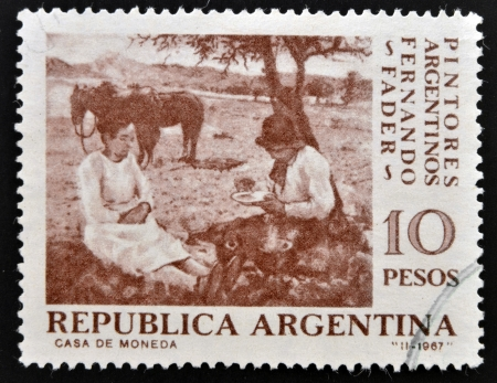 ARGENTINA - CIRCA 1967: A stamp printed in Argentina shows Pick-Nick by Fernando Fader, circa 1967