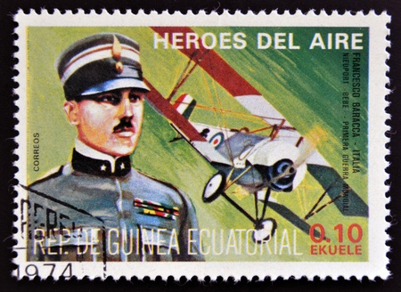 EQUATORIAL GUINEA - CIRCA 1974: stamp printed in Guinea dedicated to air heroes, shows Francesco Baracca, historic aviator of the First World War, circa 1974