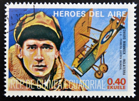 equatorial: EQUATORIAL GUINEA - CIRCA 1974: stamp printed in Guinea dedicated to air heroes, shows Edward Mannock, historic aviator of the First World War, circa 1974  Editorial