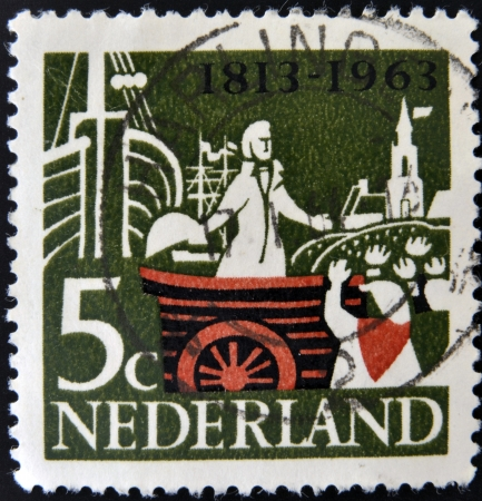 HOLLAND - CIRCA 1963: A stamp printed in Netherlands shows William, Prince of Orange, landing at Scheveningen, circa 1963.  Stock Photo - 15670243