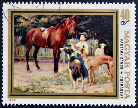magyar: HUNGARY - CIRCA 1979: A stamp printed in Hungary shows draw by Vaszary Janos - Hunting Dogs, circa 1979
